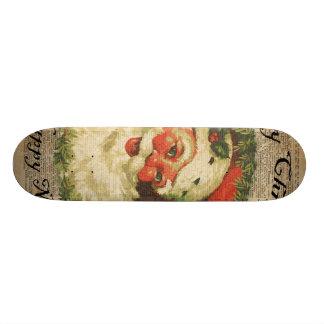 Art heureux vintage de salutations de Noël de Père Skateboard Customisable
