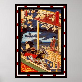Art Japanese Lady Vintage Poster Utagawa Kunisada
