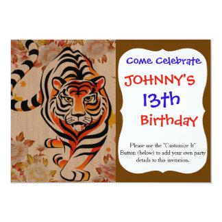 art japonais de tigre carton d'invitation  12,7 cm x 17,78 cm