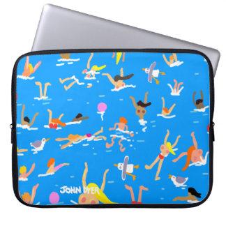 Art LapTop Case: John Dyer Swimmers. Blue Computer Sleeves