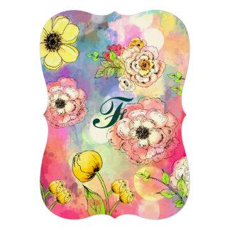 Art multi floral abstrait de peinture carton d'invitation  12,7 cm x 17,78 cm