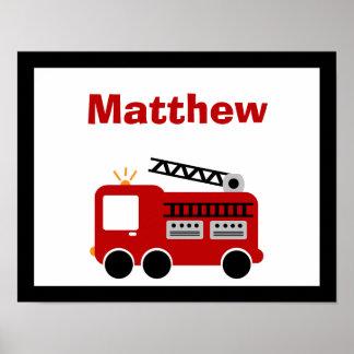Art nommé de mur personnalisé par camion de pompie poster