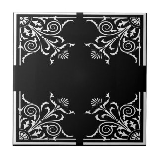 Art nouve style pattern in classic black and white tile