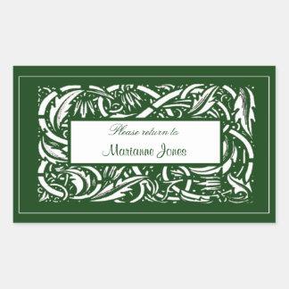 Art Nouveau Acanthus Nameplate Sticker