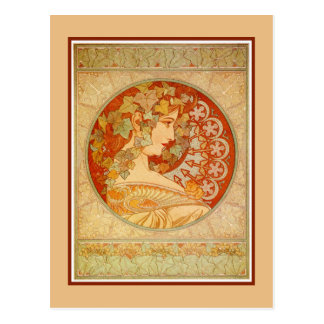 Art Nouveau Alfons Mucha, model Ivy Postcard