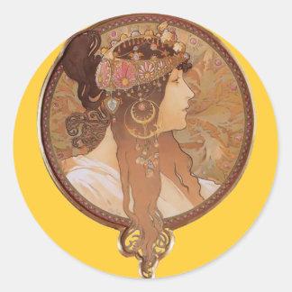 Art Nouveau - Alphonse Mucha Byzantine Head Classic Round Sticker
