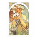 "Art Nouveau - Alphonse Mucha ""Flower"" Postcards"