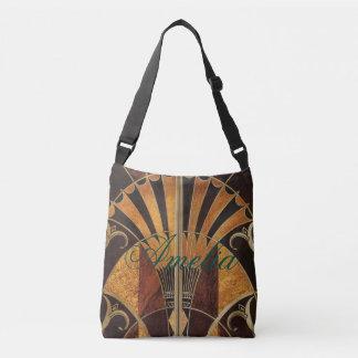 art Nouveau,art deco, vintage, multi wood colours, Crossbody Bag