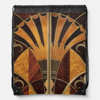 art Nouveau,art deco, vintage, multi wood colours, Drawstring Bag
