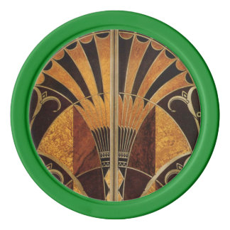 art Nouveau,art deco, vintage, multi wood colours, Poker Chip Set