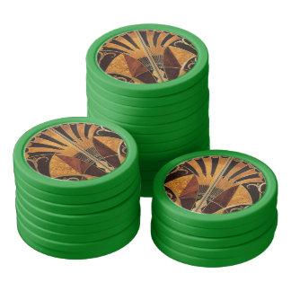 art Nouveau,art deco, vintage, multi wood colours, Poker Chips