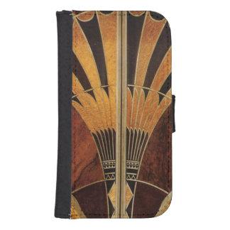 art Nouveau,art deco, vintage, multi wood colours, Samsung S4 Wallet Case