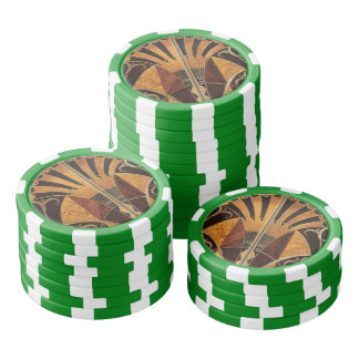 art Nouveau,art deco, vintage, multi wood colours, Set Of Poker Chips