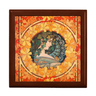 Art Nouveau Autumn Leaf Design  Square Gift Box