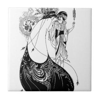 Art Nouveau Beardsley Peacock Skirt Tile