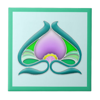 Art Nouveau beautiful flower Tile