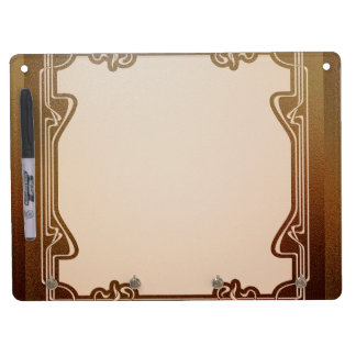 art nouveau, beige,brown,antique,belle époque, ele dry erase board with keychain holder