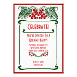 Art Nouveau Berries Christmas Card Invitation