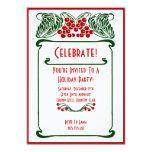 Art Nouveau Berries Christmas Card Invitation