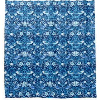 Art Nouveau Bird and Flower Tapestry, Dark Blue