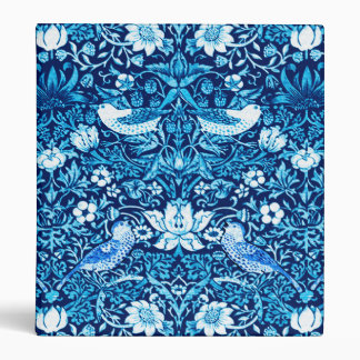 Art Nouveau Bird and Flower Tapestry, Dark Blue 3 Ring Binders