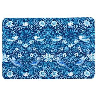 Art Nouveau Bird and Flower Tapestry, Dark Blue Floor Mat
