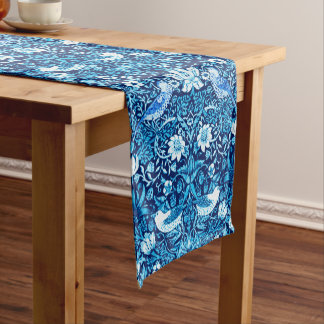 Art Nouveau Bird and Flower Tapestry, Dark Blue Short Table Runner