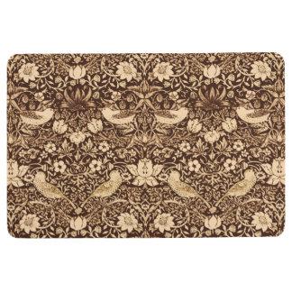 Art Nouveau Bird and Flower Tapestry, Dark Brown Floor Mat