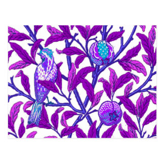 Art Nouveau Bird and Pomegranate, Amethyst  Purple Postcard