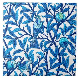 Art Nouveau Bird and Pomegranate, Cobalt Blue Ceramic Tiles