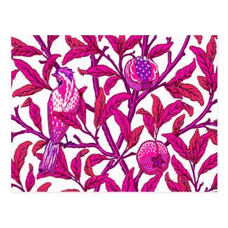 Art Nouveau Bird and Pomegranate, Fuchsia Pink Postcard