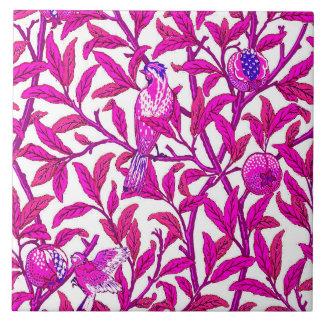 Art Nouveau Bird and Pomegranate, Fuchsia Pink Tile