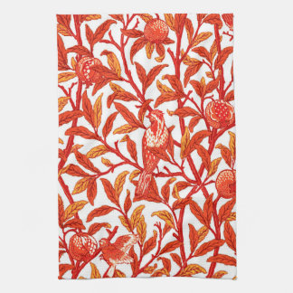 Art Nouveau Bird and Pomegranate, Mandarin Orange Towels