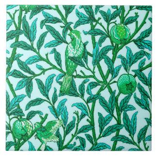 Art Nouveau Bird and Pomegranate, Turquoise Ceramic Tiles