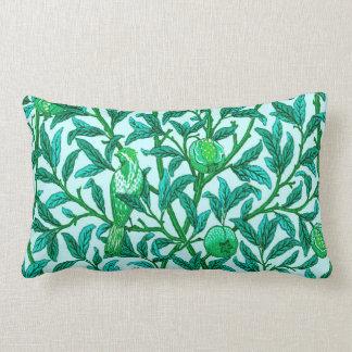 Art Nouveau Bird and Pomegranate, Turquoise Lumbar Pillow