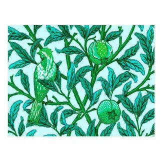 Art Nouveau Bird and Pomegranate, Turquoise Postcard