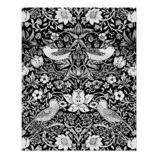 Art Nouveau Bird & Flower Tapestry, Black & White Poster
