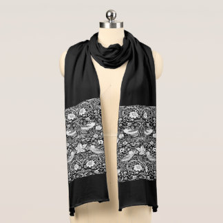 Art Nouveau Bird & Flower Tapestry, Black & White Scarf