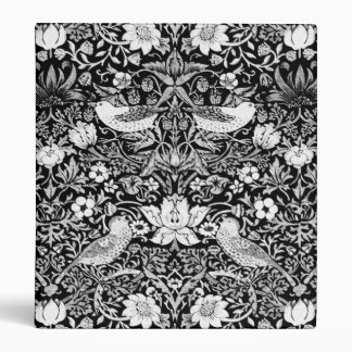Art Nouveau Bird & Flower Tapestry, Black & White Vinyl Binder