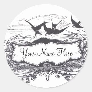 Art Nouveau Birds Classic Round Sticker