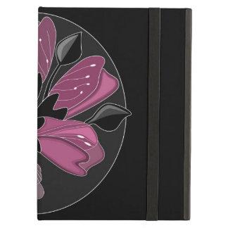Art nouveau black and dusty pink floral print iPad air case
