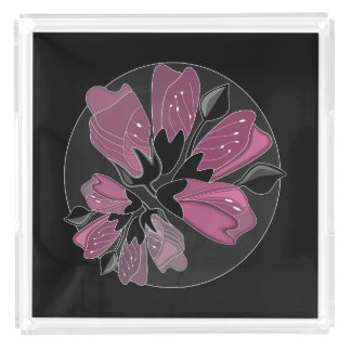 Art nouveau black and dusty pink floral print perfume tray