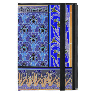 Art nouveau black and purple iris ipad mini case