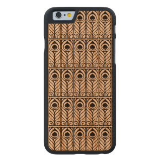 Art Nouveau Black & White Peacock Feather Design Carved Cherry iPhone 6 Case