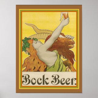 Art Nouveau Bock Beer Ad ca.1912-  12 x 16 Poster