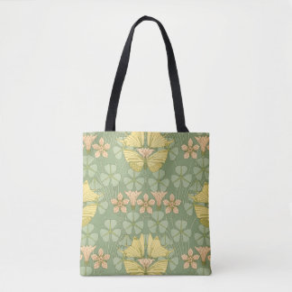 Art Nouveau Butterfly and Flower Tote Bag