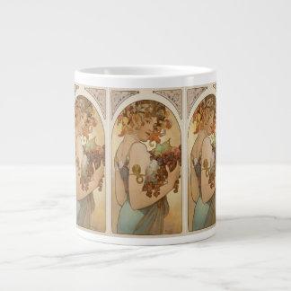 """Art Nouveau by Alphonse Mucha-c 1897 """"Fruit"""" Large Coffee Mug"""