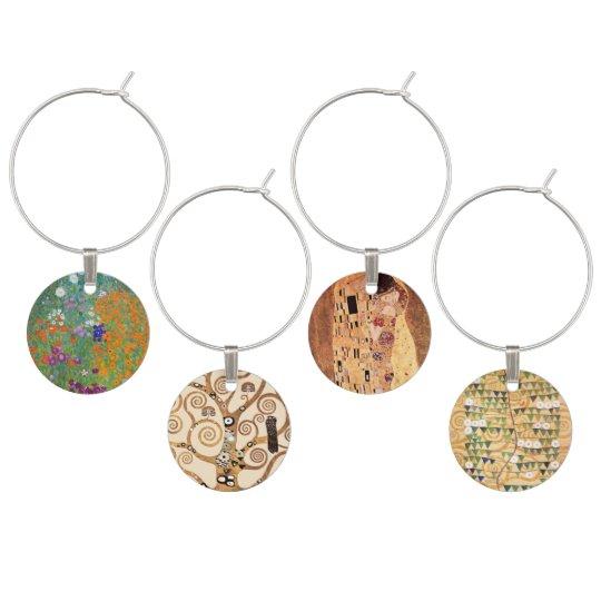 Art Nouveau by Klimt Wine Glass Charm