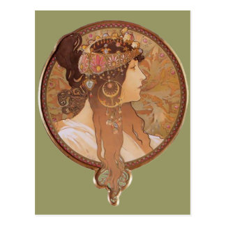 Art Nouveau - Byzantine Head, The Brunette Postcard