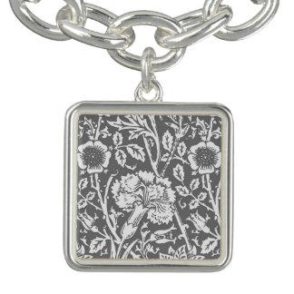 Art Nouveau Carnation Damask, Gray / Grey Charm Bracelet